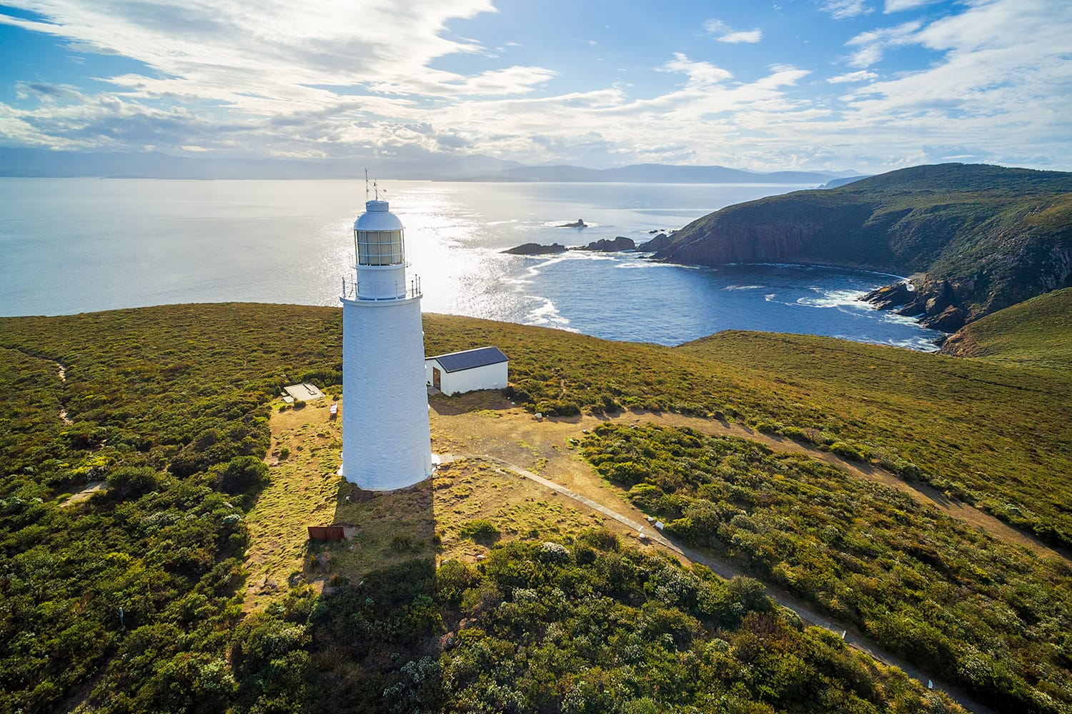Aerial view of Bruny Island Lighthouse at sunset. Tasmania, Australia