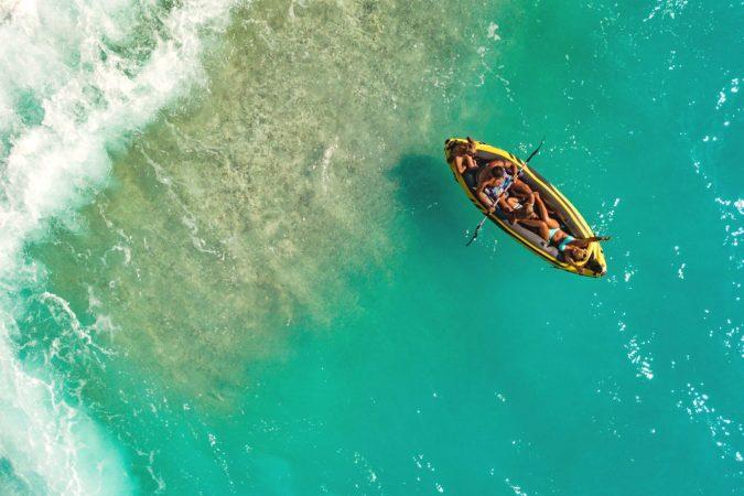 Inflatable kayak on ocean
