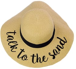 C.C Women's Paper Weaved Embroidered Quote Beach Hat
