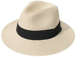 Lanzom Women Wide Brim Straw Fedora Beach Sun Hat