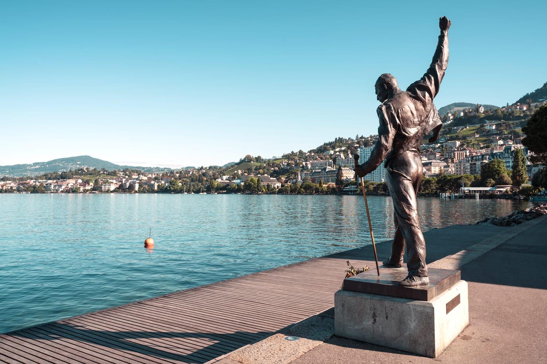 Freddie Mercury former Queen music band leader bronze statue by artist Irena on Geneva Lake shore in Montreux Switzerland