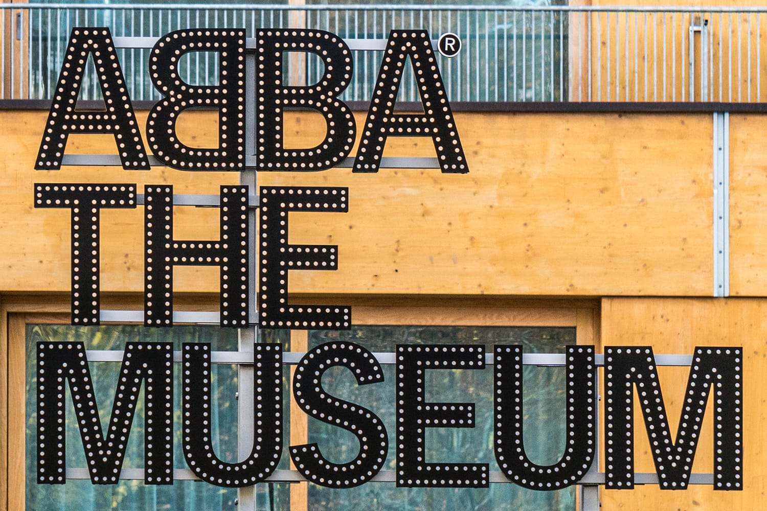ABBA the Museum sign at entrance in Stockholm, Sweden
