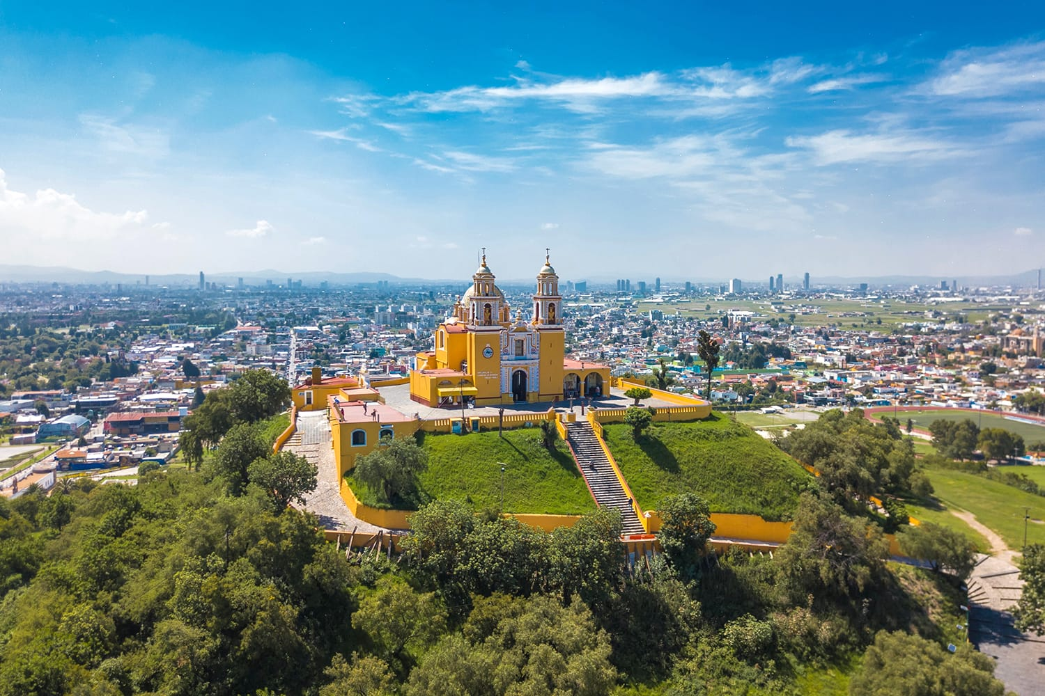 Aerial view of Church of Our Lady of Remedies in Cholula, Mexico