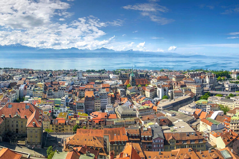 Aerial view of Lausanne, Lake Geneva, Switzerland