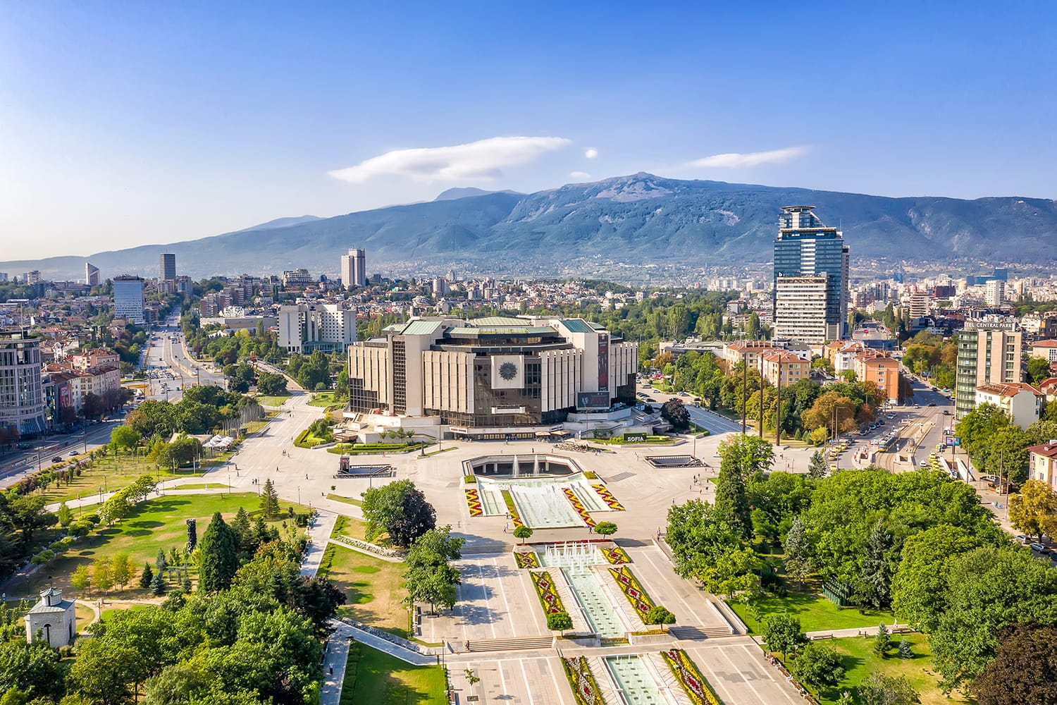 Amazing aerial view of National Palace of Culture in the city of Sofia, capital of Bulgaria