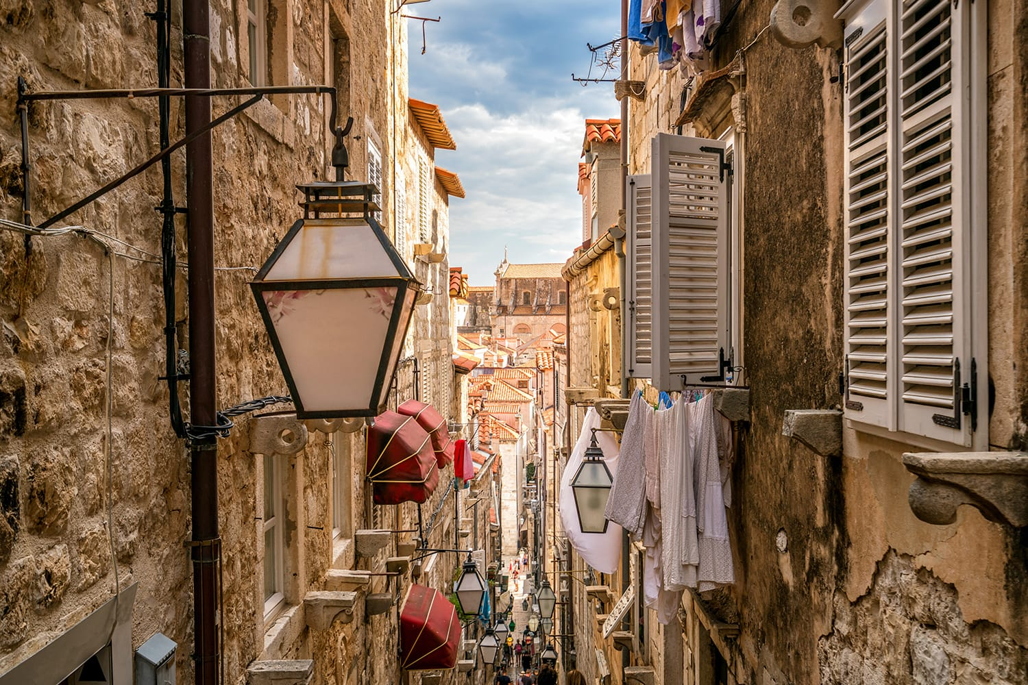 Famous narrow alley of Dubrovnik old town in Croatia