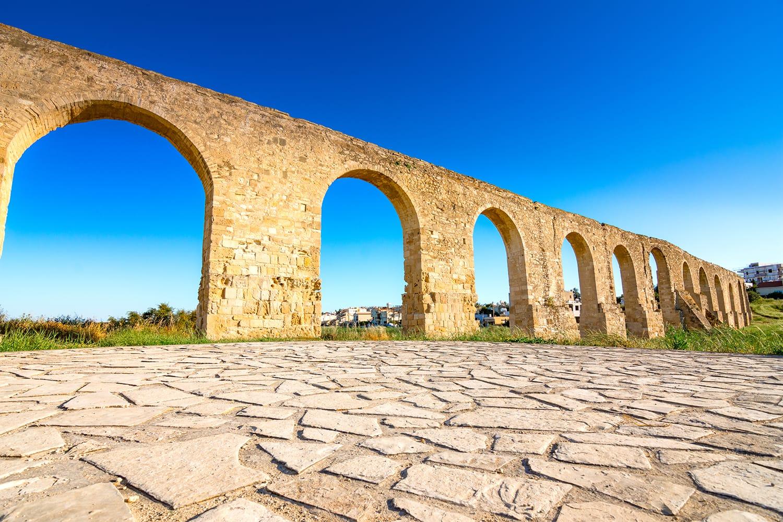 Ancient Roman aqueduct of Kamares in Larnaca, Cyprus.