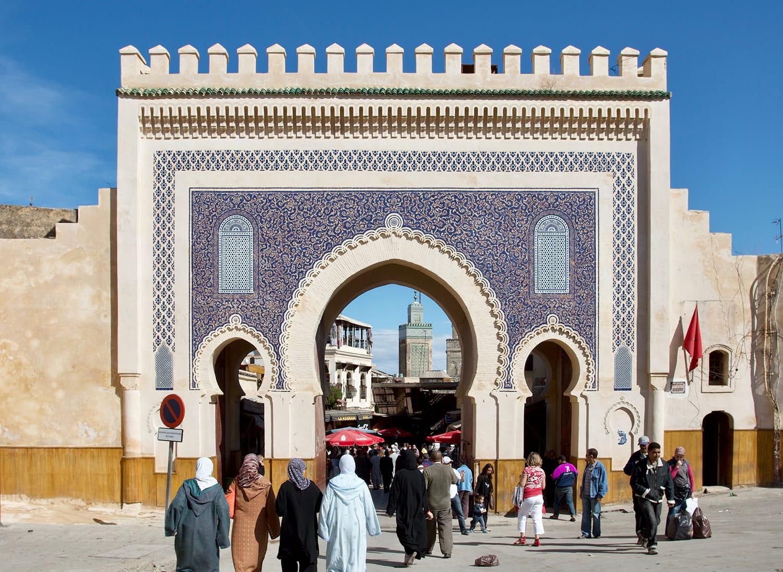 Bab Bou Jeloud gate (blue gate), Fez, Morocco