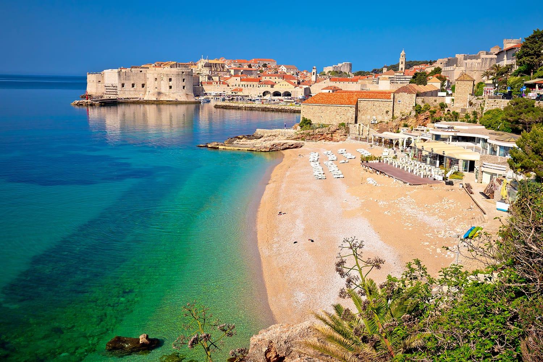 Historic town of Dubrovnik and Banje beach view, Dalmatia region of Croatia