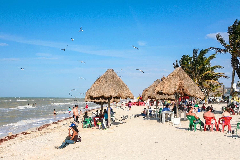 People rest on a beach in Progreso near Merida, Yucatan, Mexico