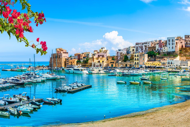 Sicilian port of Castellammare del Golfo, amazing coastal village of Sicily island, province of Trapani, Italy