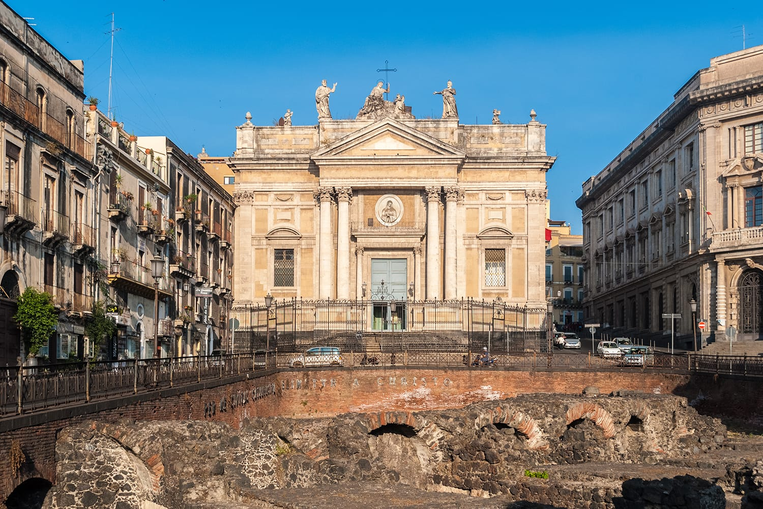The church of San Biagio, known also as Sant'Agata alla Fornace, in Catania; in the foreground a glimpse of the roman amphitheatre