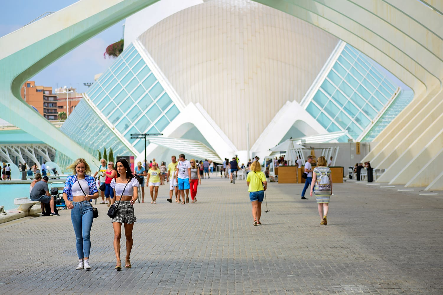 People visit the City of Arts and Sciences, Oceanographic and hemisphere museum, famous place from Spain, Europe, Valencia
