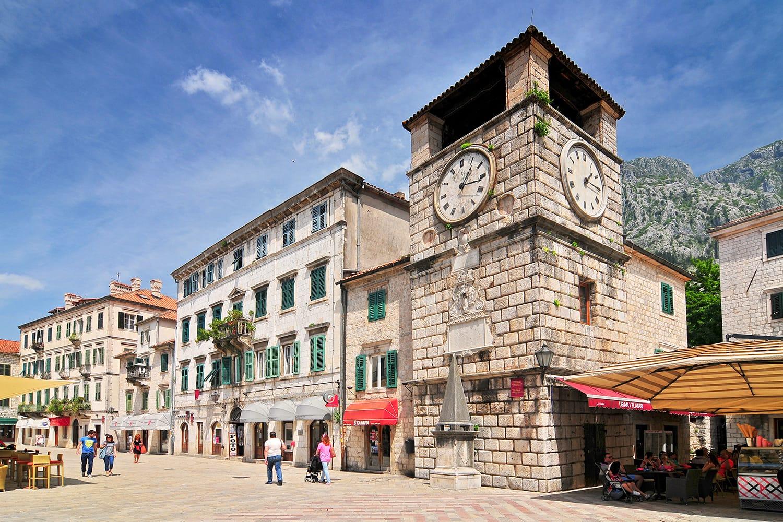 Clock Tower inside Stari Grad. Kotor Montenegro.