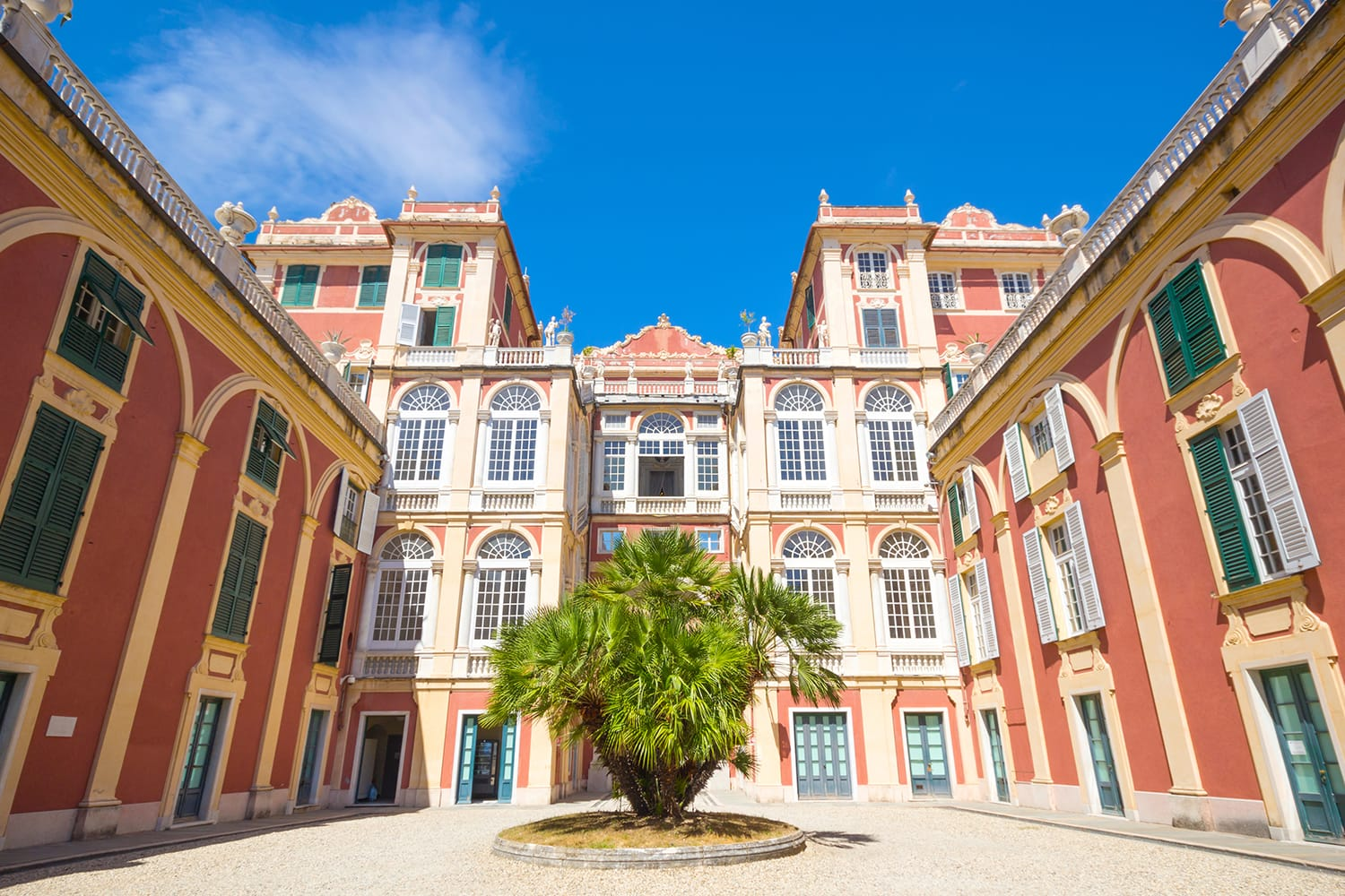 Courtyard of Palazzo Reale in Genoa, Italy
