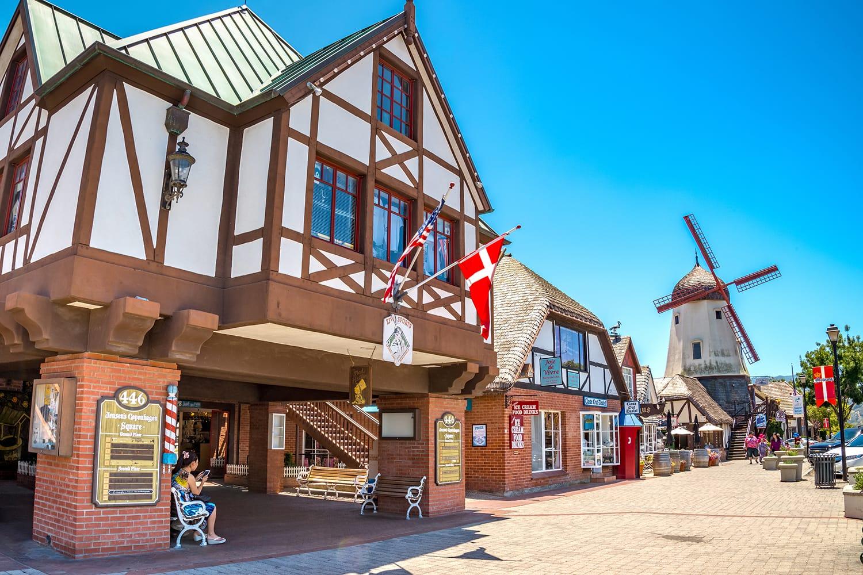 House in hte Danish style, Solvang village in Santa Barbara County, California, USA