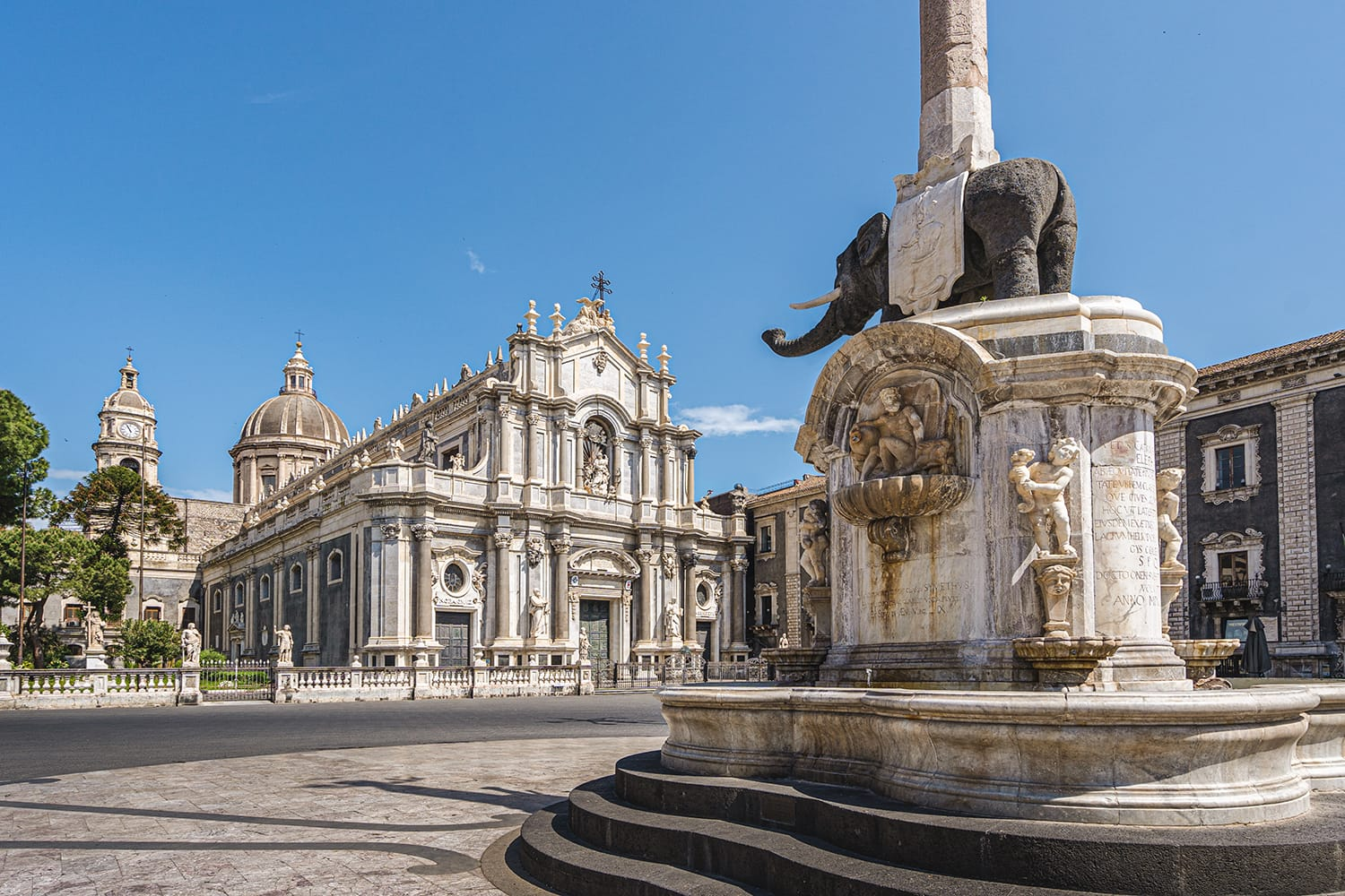 Dome the fountain elephant (1737) and the Cathedral of Saint Agatha in Catania, Sicily, Italy