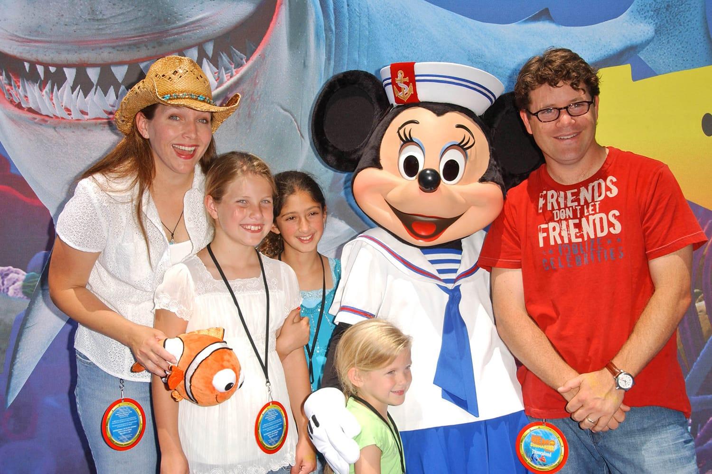 "Sean Astin with Christine Astin and family at the Opening of Disneyland's ""Finding Nemo Submarine Voyage"". Disneyland, Anaheim, CA"