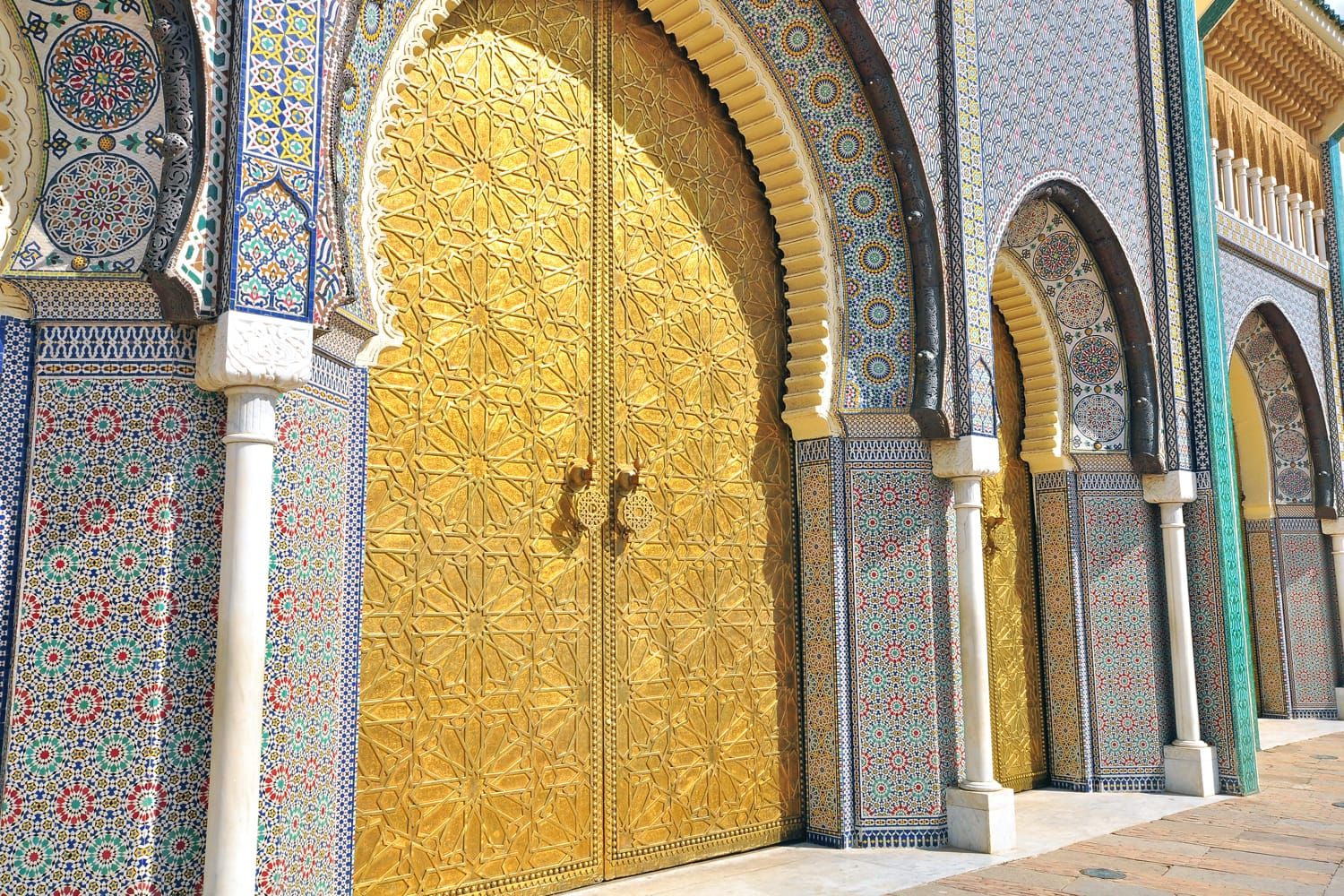 Golden gates at the Royal Palace in Fez, Morocco