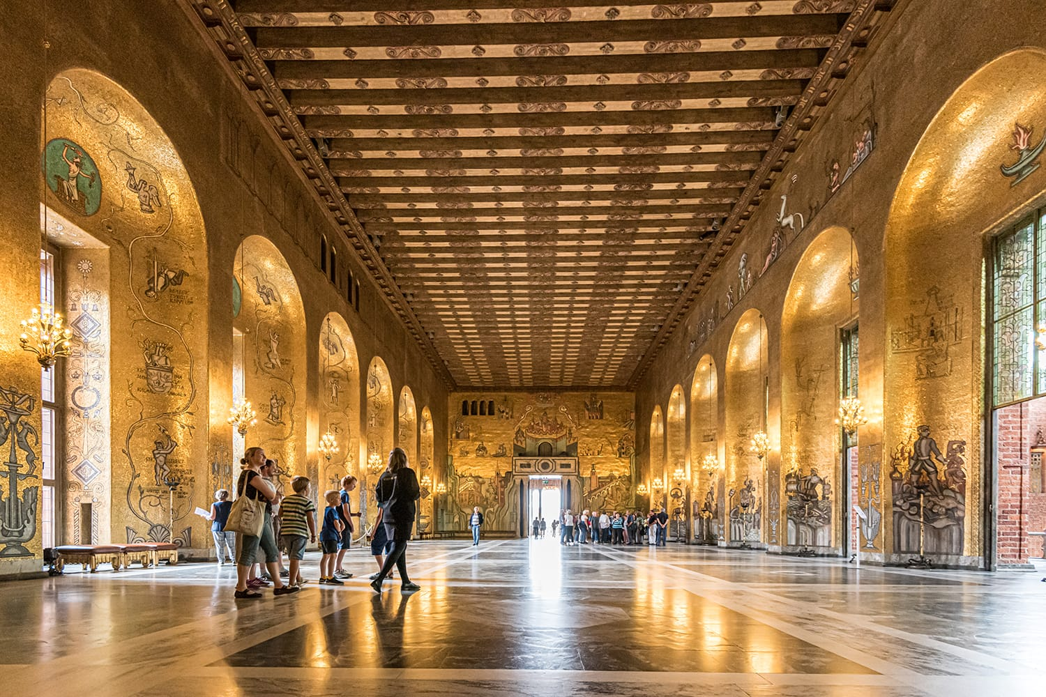 Main entrance of the Golden Hall in Stockholm City Hall. The balls after the Nobel Banquet are held here.