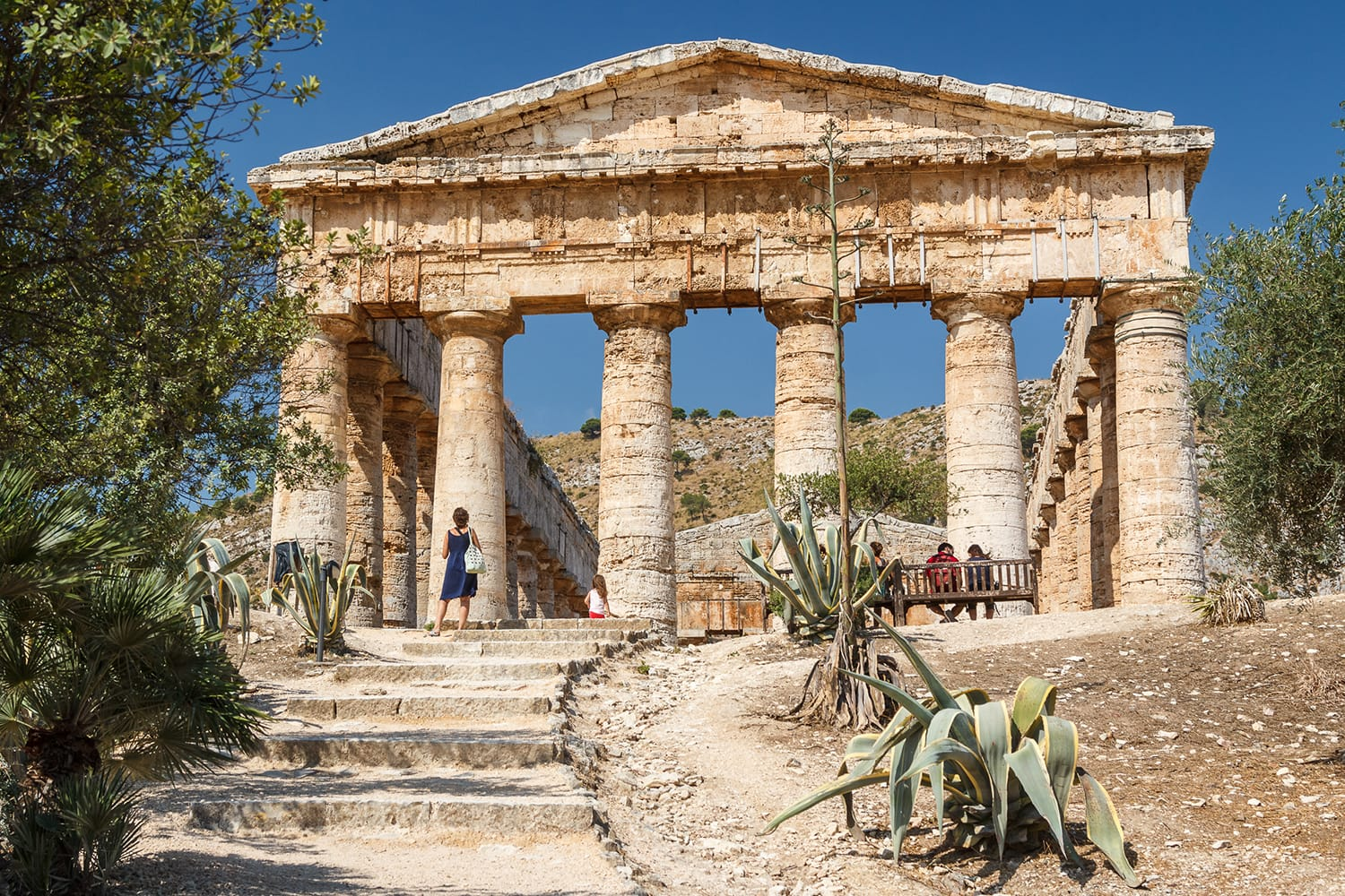 Greek temple in the ruins of the ancient city of Segesta, Sicily, Italy