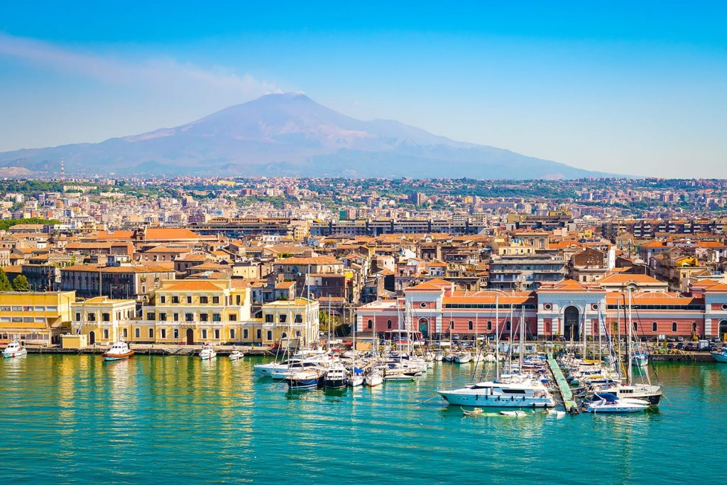 View of harbor in Catania, Sicily, Italy