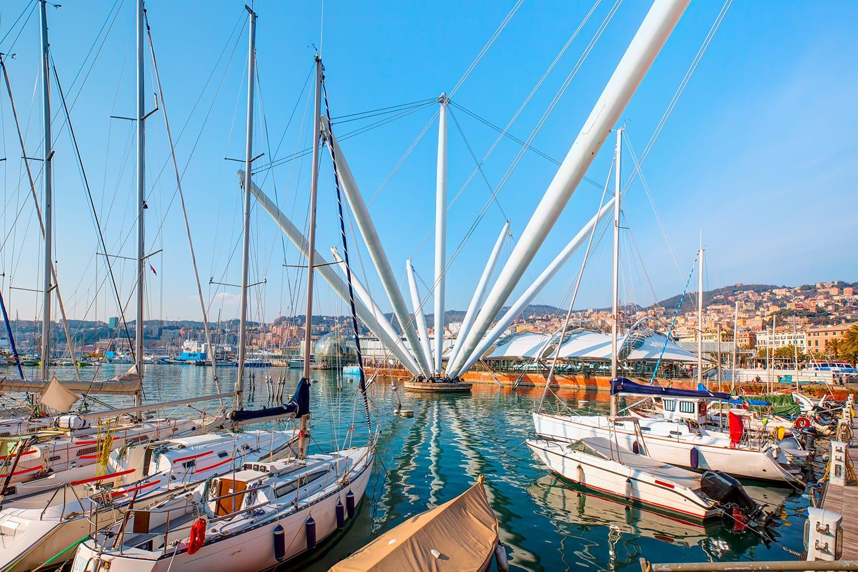 Panoramic view of the port Genoa ( Genova ), Italy