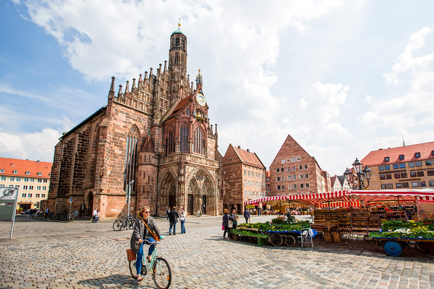 Hauptmarkt, the central square and Frauenkirche church of Nuremberg, Bavaria, Germany
