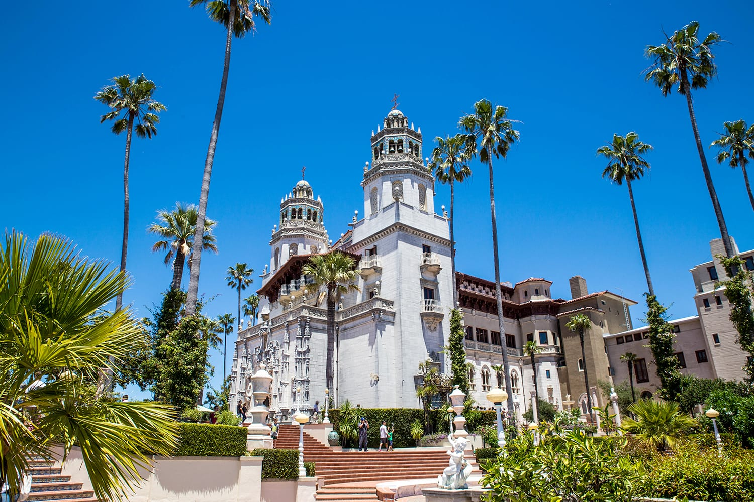 East side view of Hearst Castle in California, USA