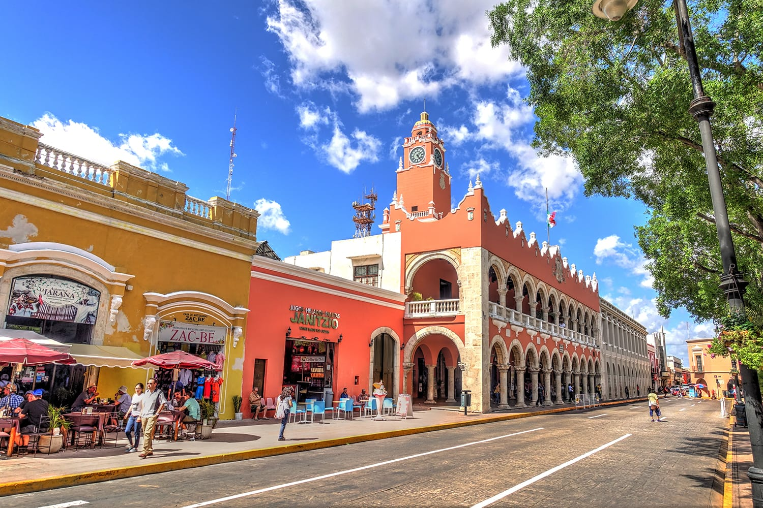 Buildings in the historical center of Merida, Mexico
