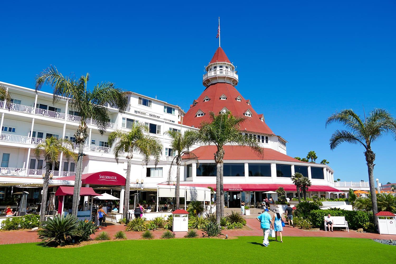 Hotel del Coronado, also known as The Del and Hotel Del. Historic beachfront hotel in the city of Coronado, just across the San Diego Bay from San Diego, California. USA