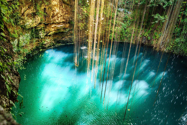 Ik-Kil Cenote near Chichen Itza, Mexico.