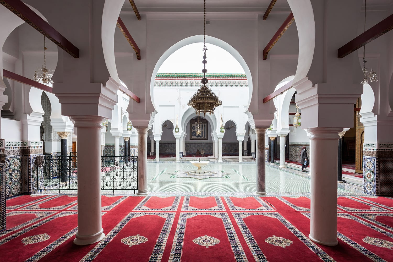 Interior of Al Quaraouiyine (or al-Qarawiyyin) Mosque and university in Fes, Morocco.