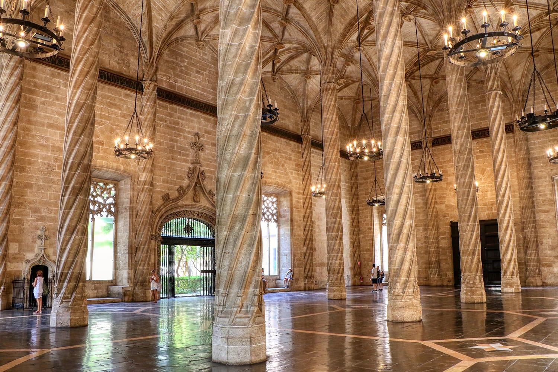 Interior of the Lonja de la Seda, a silk exchange building in Valencia, Spain