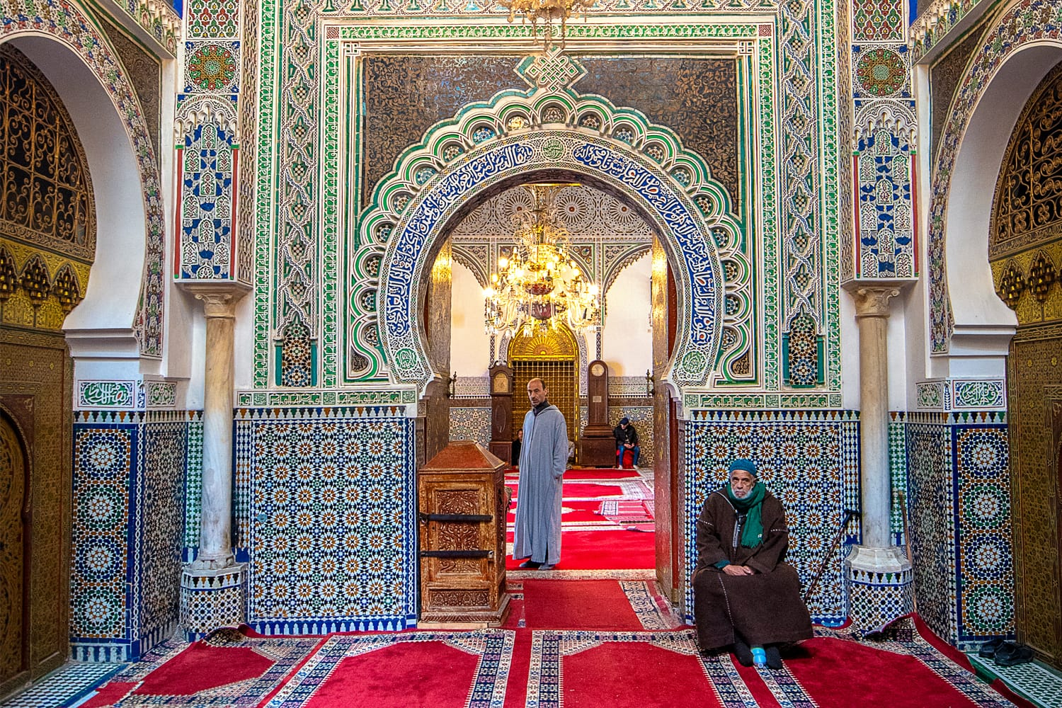 Inside courtyard and interior of The Zaouia Moulay Idriss II is shrine or mosque and is dedicated to and tomb of Moulay Idriss II in Fez, Morocco