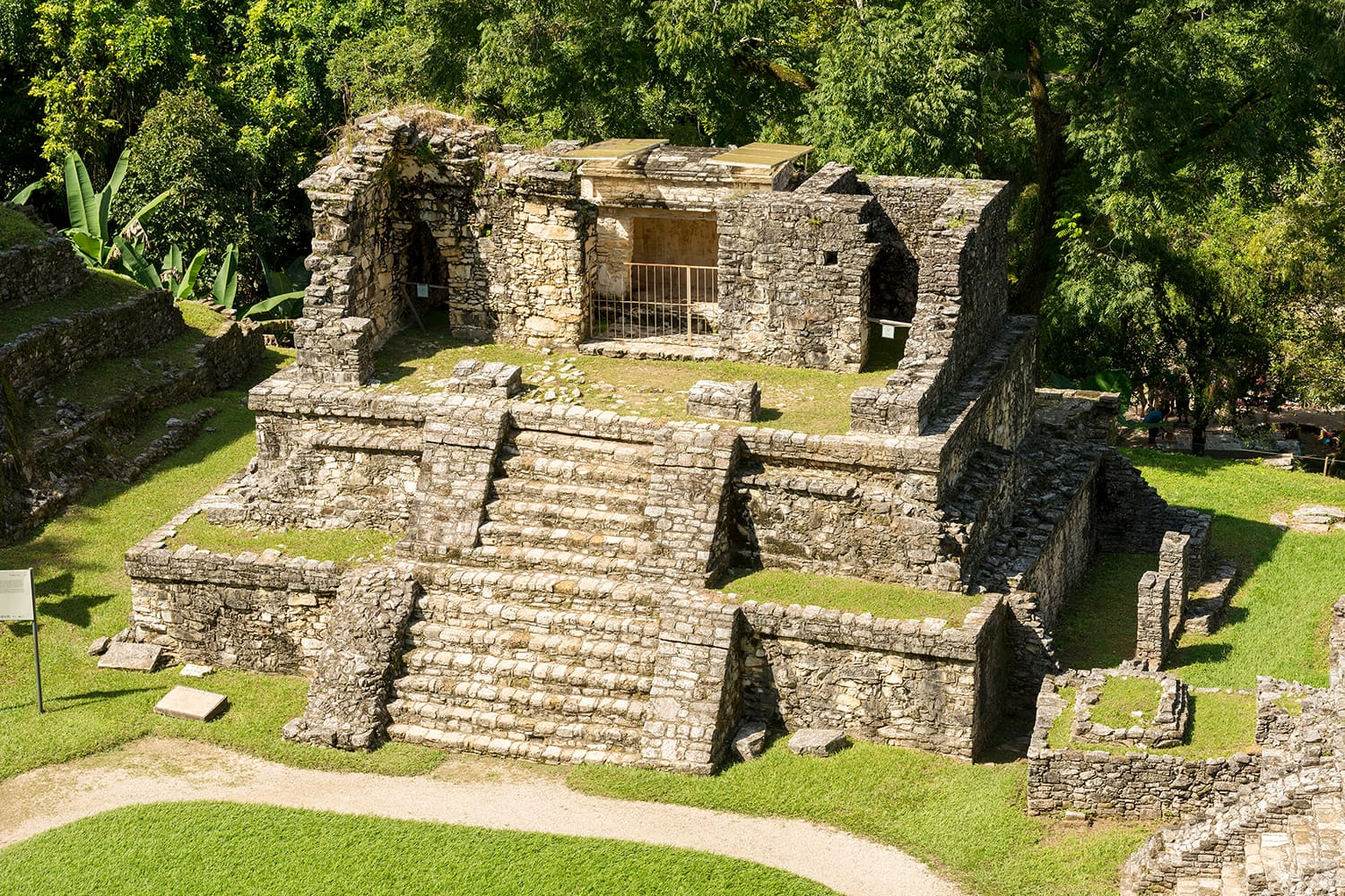 Ancient Mayan structures at the heritage site in Palenque Mexico