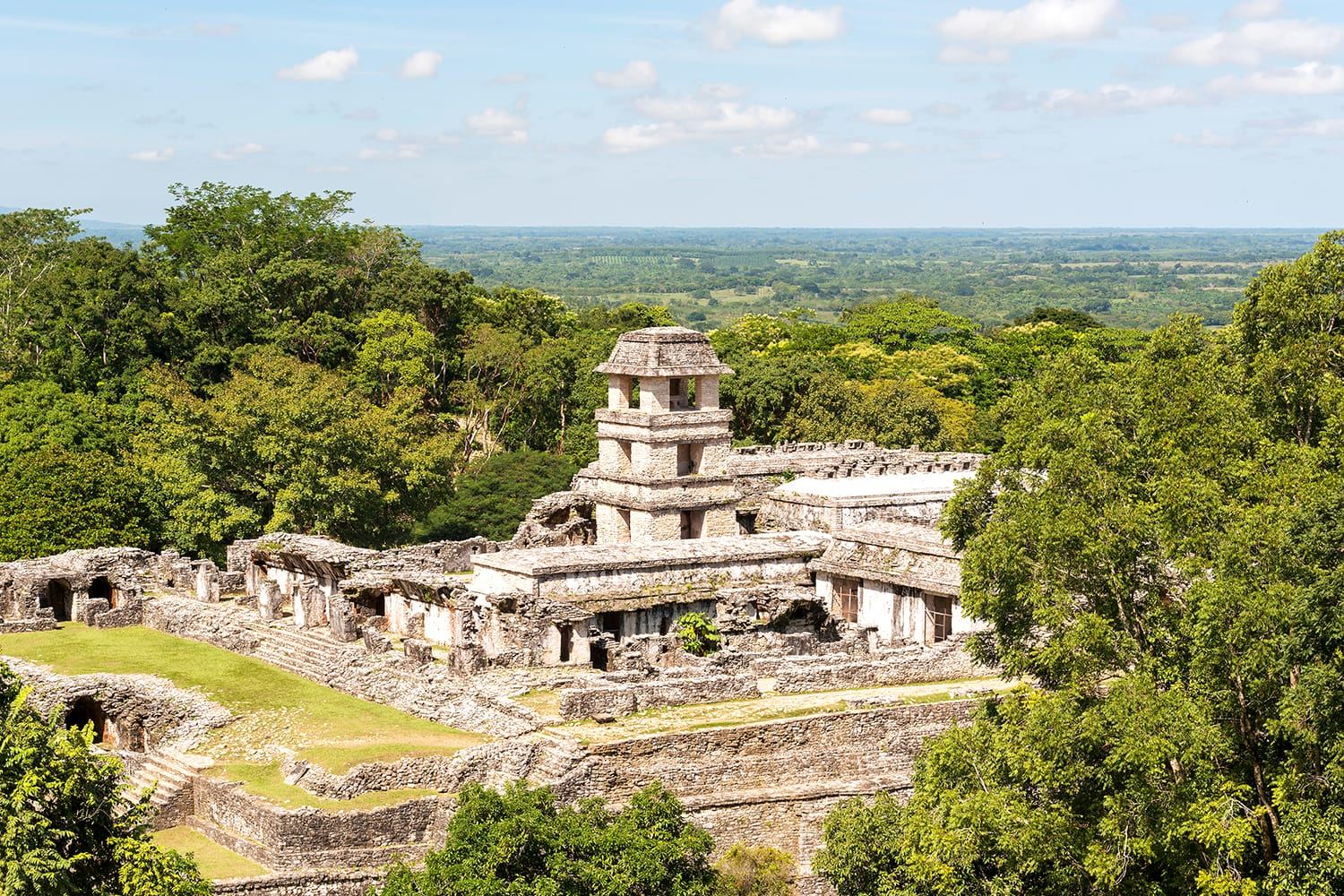 High angle view of the ancient Mayan Palace at the heritage site in Palenque, Mexico