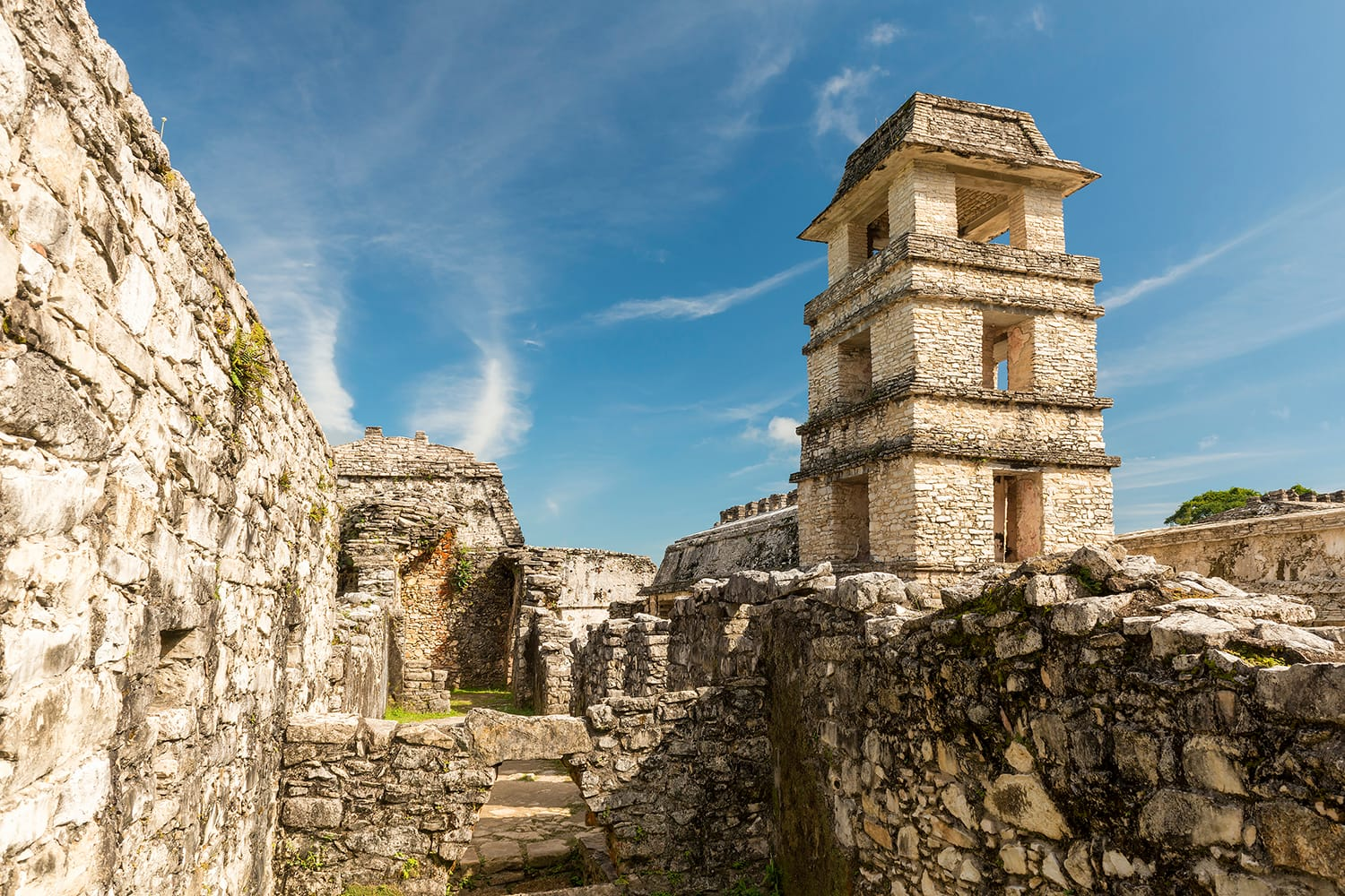 The Palace, one of the Mayan buiding ruins in Palenque, Mexico