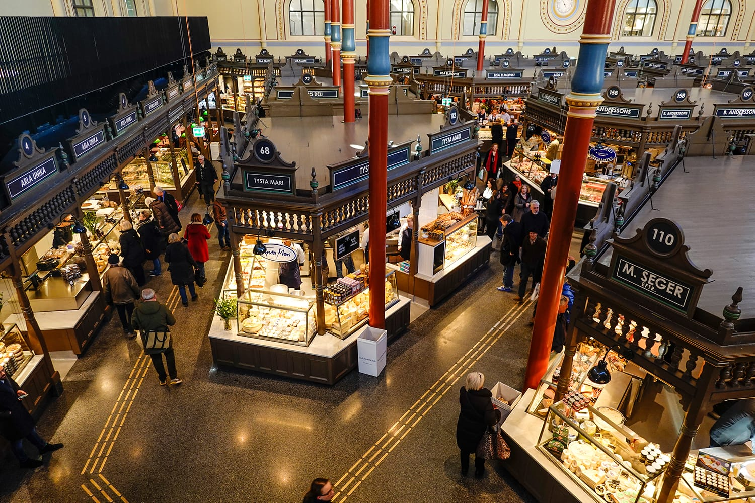 The interior of the newly renovated Östermalm Saluhall food market in Stockholm, Sweden