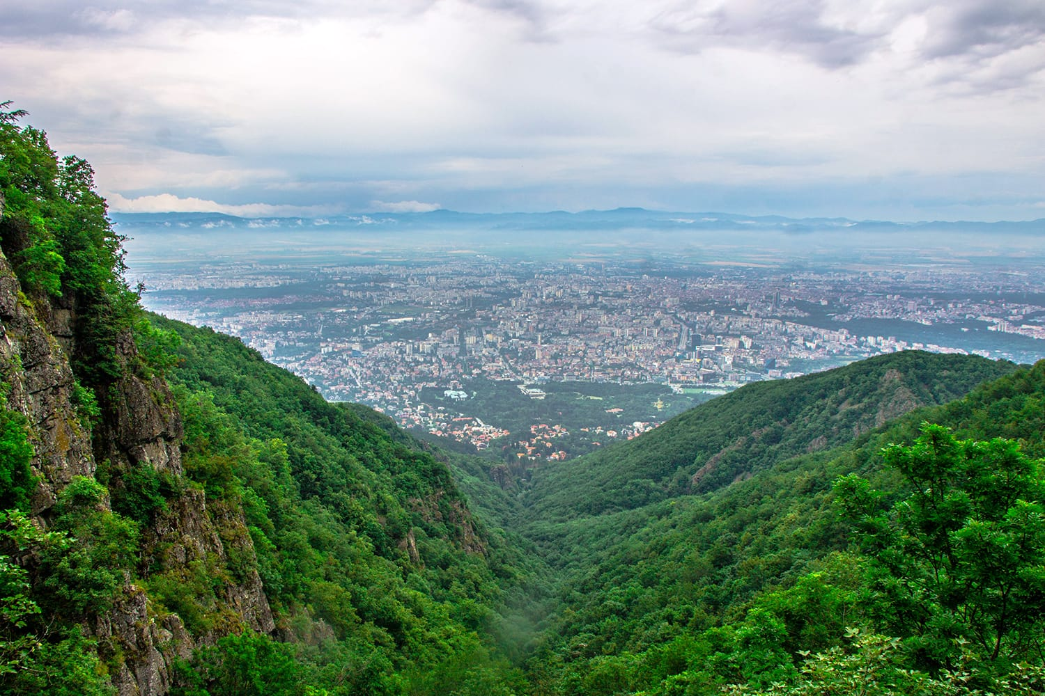 Panoramic view of Sofia, Bulgaria from a mountain