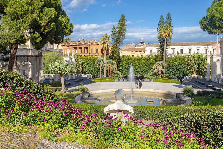 Giardino Bellini park in Catania, Sicily, Italy