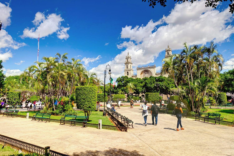 Park in center of Merida, Mexico