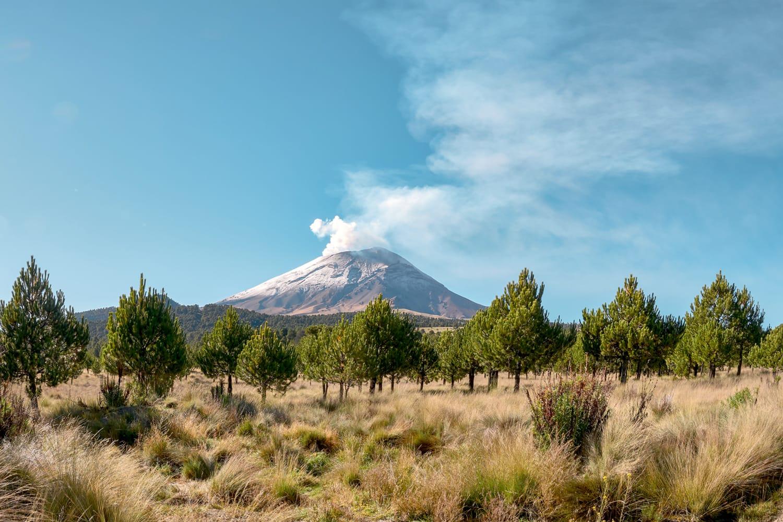 Popocatepetl volcano seen from the Izta-Popo Zoquiapan National Park in Mexico