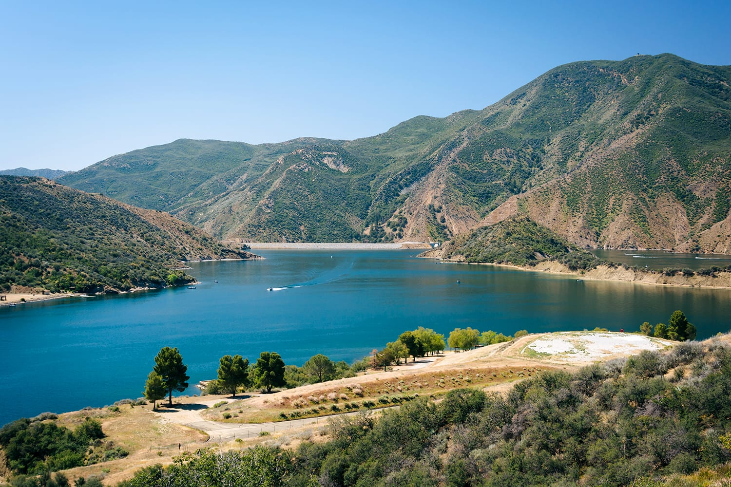 View of Pyramid Lake, in Angeles National Forest, California USA