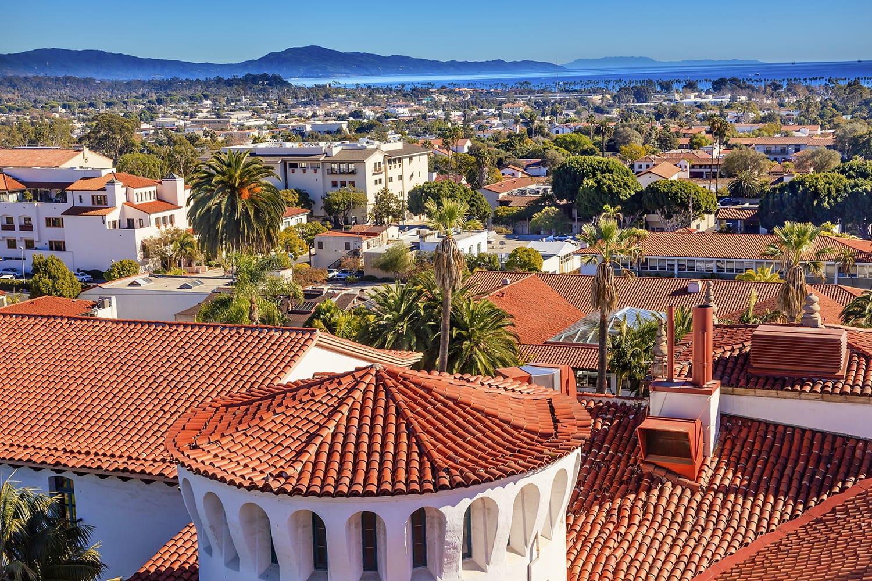 Rooftop view over Santa Barbara, California, USA
