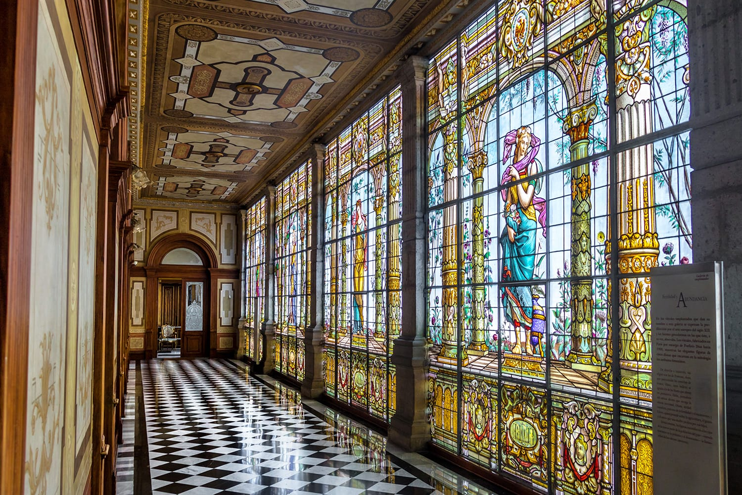 Chapultepec Castle hallway corridor with Stained glass windows - Mexico City, Mexico