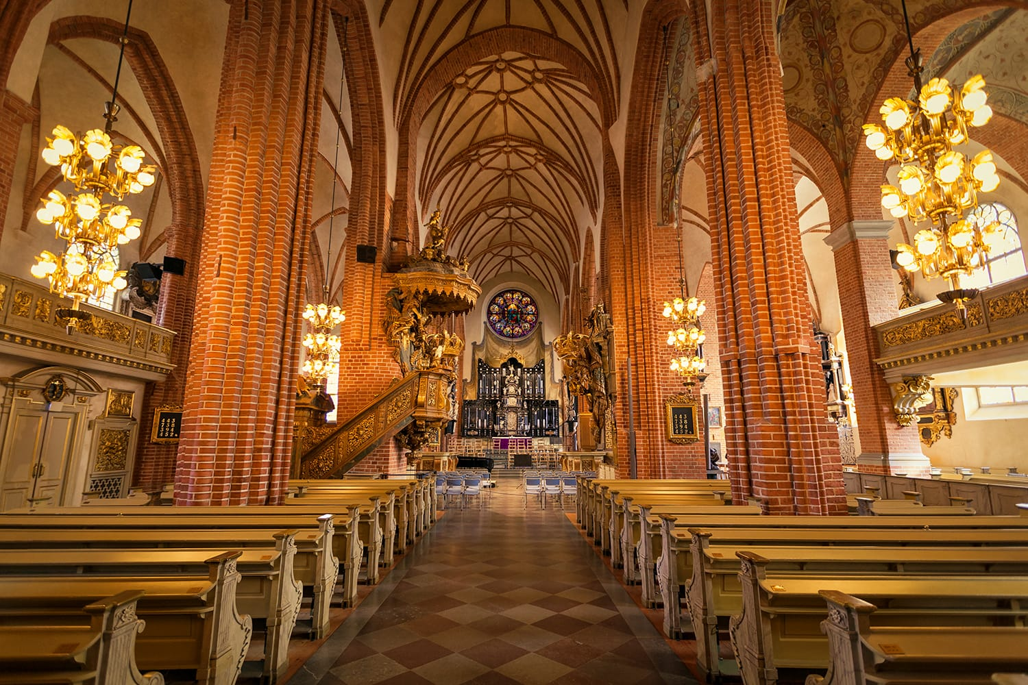 The main nave of the Storkyrkan, the oldest church in Gamla Stan and Stockholm Cathedral, Stockholm, Sweden