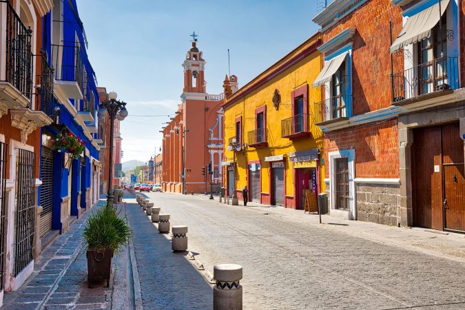 Street in the historic center of Puebla Mexico