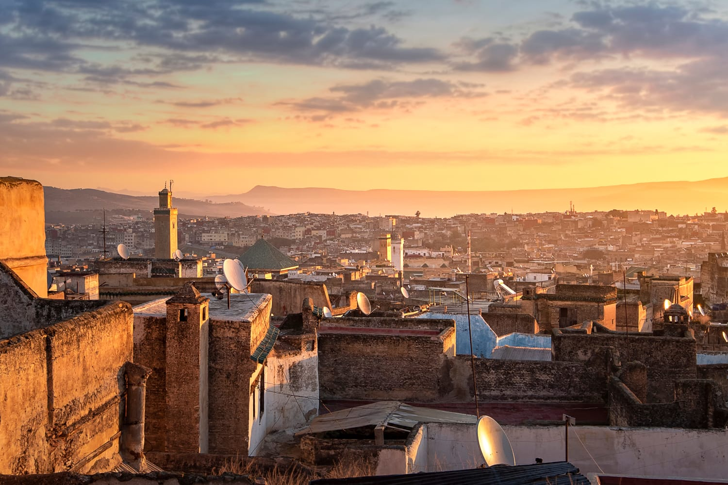 View of the old Medina in Fez (Fes El Bali), Morocco at sunrise.
