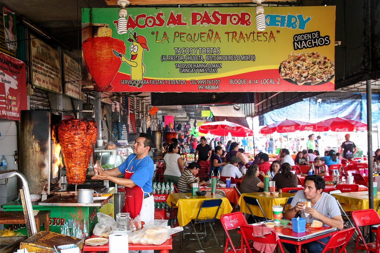Taco stall at the local market in Merida, Yucatan, Mexico